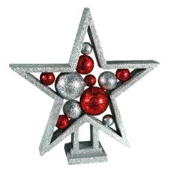Estrella de Navidad con Bolas y Purpurina
